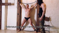 In continue of torments we suspend Dmitry upside down for further whipping and electrotortures.