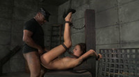 Skiny newwbie Kendra Cole belt down, chained and roughly fucked by big cock!
