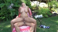 Devon Lee jumps on hard cock outdoors