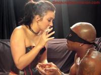 Mistress Renee Richards Blows Smoke In Slaves Face