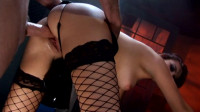 Hot redhead in fishnets fucked hard