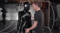 Tight bondage, strappado and torture for sexy model in latex