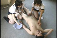 Download Asian Femdom with handjob & facesitting to man by two young Japanese girls