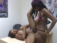 Big tit ebony honey straponed by her girlfriend