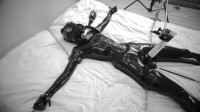 Tight bondage, domination and torture for sexy angel in latex