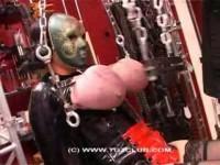 Mask woman big breast torture
