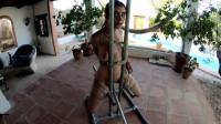 LittleRedGirl on the metal chair