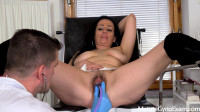 Hot mature brunette made to cum in gyno chair by 2 kinky doctors