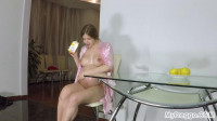 Kay Covers Her Nude Body in Cool Strawbe