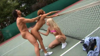 Lucky dude fucks two babes on the tennis court
