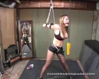 Self gagged and bondage