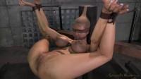 Huge beasted Rain DeGrey restrained in strict bondage