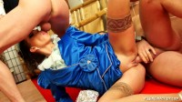Seductive Princess In Blue Outfit Is Drenched In Piss.