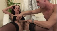 Brunette slut feels fresh spunk on her shaved twat