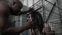 Caged Gabi Paltrova sucks big black cock