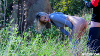 Blonde Sky Pierce ass nailing in the woods