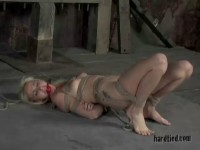 Clothespins biting her labia and nipples, and clit torment with a vibrator all keep her fussed up