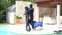 Multilayer zentai by the pool