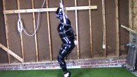 Tight bondage, strappado and hogtie for hot angel
