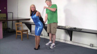 Crystal Frost - Secretary in a blue latex dress, collared, leashed and trained.