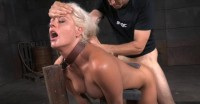 Busty Blonde Holly Shackled Down Doggystyle
