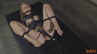 Blonde in Leather Straightjacket with Non Stop Orgasms (slut, english, pounding, leather)