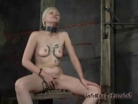 He torments her pussy with a vibrator. Her clit goes pointy and stiff