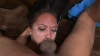 Horny slut gets mouth fucked and swallows sperm