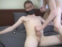 Slave twink patrick gagged bondage handjob extreme orgasm!
