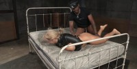 Big Breasted Alyssa Takes On Two Cocks While Bound In A Leather Straightjacket!