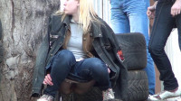 Girls pissing in the parking lot - outdoor, tit, porn.