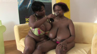 2 busty bbw lesbians having fun on the yellow sofa
