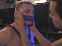 bdsm liove show busty gay slave man bondage hard roped show!