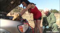Pervert mocks a chick in the desert