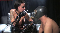 Mistress Victoria Brown Dominates Male Slave With Her Smoke