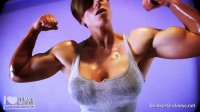 Goddess rapture lifts weights and gets all sweaty then rubs her pussy