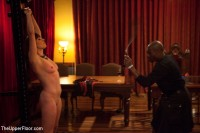 Uppity blond slave whipped back into shape as real BDSM players fuck on the dinner table
