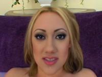 Blonde slut sucks off a dick