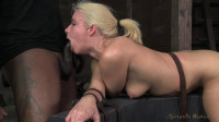 Beautiful blonde Anikka Albrite deep throats hard
