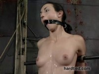 Then with knees tied together and mouth cranked open with the pear gag