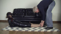 Super bondage, domination and hogtie for young model
