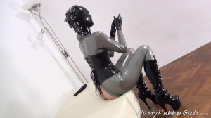 Dildo Fuck With Heavy Rubber Helmet, Inflatable Gag Part Two [Eng]