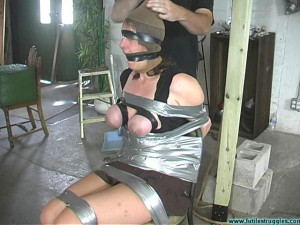 Karin Sin Chairtaped, Breasts Taped, Poletied, Crotchroped [2019,BDSM,Bondage,string][Eng]