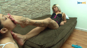 Sucking Mary's DREAM feet [Melissa Ramos,Foot Gagging,Foot Worship,Lezdom][Eng]