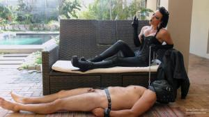 Young Goddess Kim - Ashtray for The Leather Goddess [2021,boot domination,human ashtray,smoking][Eng]