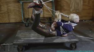 Miss Glitter Pants in a Legs Spread Hogtie [2020, crotchrope, MILF, cleave gag][Eng]