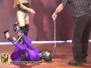 Slave 62 -Rigid Cuffed and Dragged [2009,spreader bars,metal bondage,catsuits][Eng]
