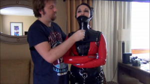 Bondage, domination and hogtie for sexy model in latex [2019][Eng]