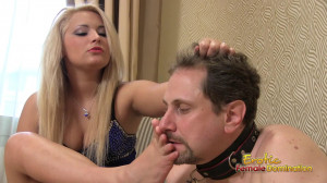 Slave on a leash sniffs his mistress's feet [Eng]