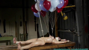 Surprise Party For Gia Love - Table Tied - Part 2 [2020, nipple clamps, Breast bondage, neckroped][Eng]